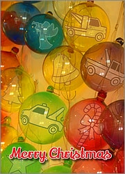 Tow Truck Glass Ornaments