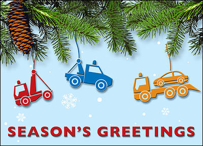 Tow Truck Christmas Card (Glossy White)